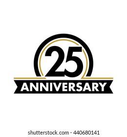 Anniversary vector unusual label. Twenty-fifth year symbol. Birthday abstract logo. 25th jubilee