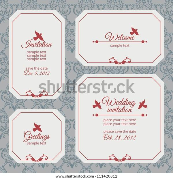 Anniversary Wedding Invitation Greetings Card Birds Stock