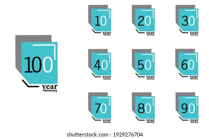 Anniversary Year Set. Vector Template Design Illustrations. Blue Box Design with an Elegant White Background