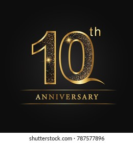 anniversary,10 years celebration logotype. Number star luxury style logo on black background