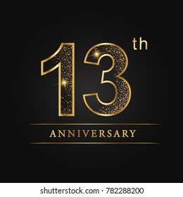 anniversary,13 years celebration logotype. 13 number star luxury style logo on black background.