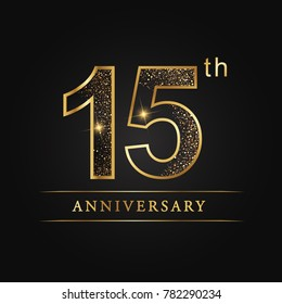 anniversary,15 years celebration logotype. 15 number star luxury style logo on black background.