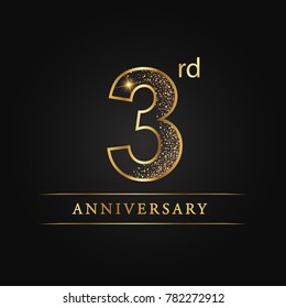 anniversary,3 years celebration logotype. 3 number star luxury style logo on black background.