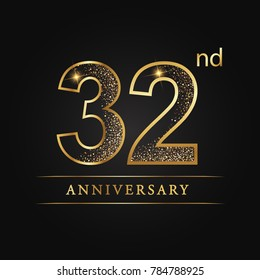 anniversary,32 years celebration logotype. Number star luxury style logo on black background
