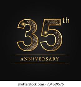 anniversary,35 years celebration logotype. Number star luxury style logo on black background
