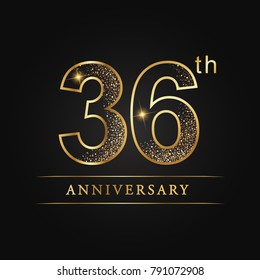 anniversary,36 years celebration logotype. Number star luxury style logo on black background