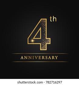 anniversary,4 years celebration logotype. Number star luxury style logo on black background