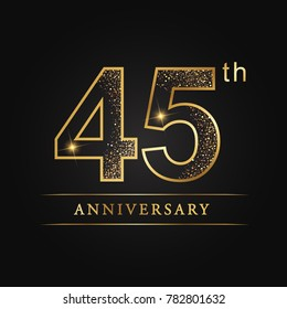 anniversary,45 years celebration logotype. Number star luxury style logo on black background