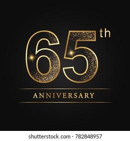 anniversary,65 years celebration logotype. Number star luxury style logo on black background