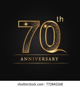 anniversary,70 years celebration logotype. 70 number star luxury style logo on black background.