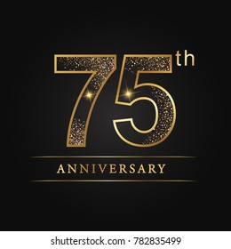 anniversary,75 years celebration logotype. Number star luxury style logo on black background