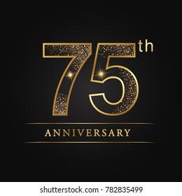 anniversary,75 years celebration logotype. Number star luxury style logo on black background