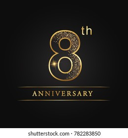 anniversary,8 years celebration logotype. 8 number star luxury style logo on black background.