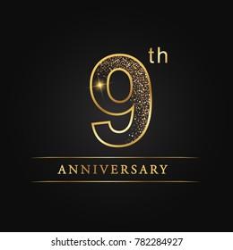 anniversary,9 years celebration logotype. 9 number star luxury style logo on black background.