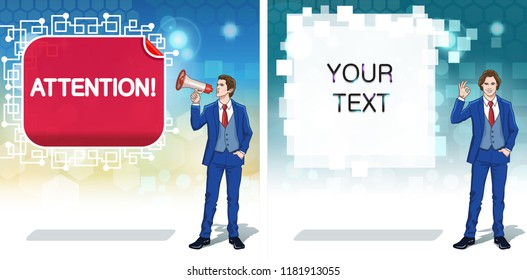 Announce banner template. Advertisement concept clipart. Business invitation cards. Colorful cartoon characters. Vector illustration.