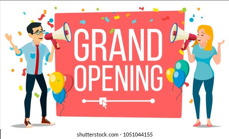 Announce Concept Vector. Woman, Man, Loudspeaker. Announcement Poster. Talking Into Megaphone Promotion Speech Grand Opening. Search For Employees. Make An Announcement. Hiring. Business  Illustration