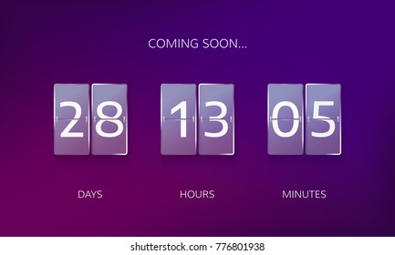 Announce countdown design. Count days, hours and minutes to caming soon event. Vector illustration