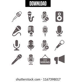 announce icon. This set with announcement, hiring sign, microphone and mic vector icons for mobile and web