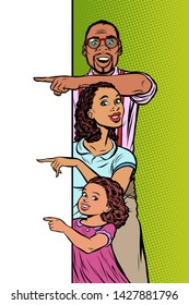 announcement advertising. African American family husband, wife and daughter pointing to copy space. Pop art retro vector Illustrator vintage kitsch drawing