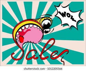 The announcement of the discounts! Sale. Monster. pop art