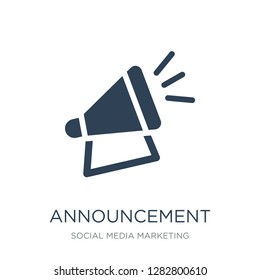 announcement icon vector on white background, announcement trendy filled icons from Social media marketing collection, announcement vector illustration
