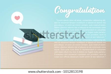 announcement invitation graduation ceremony graduation cap stock