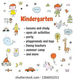 Announcement kindergarten background with funny doodles. Vector graphic illustration