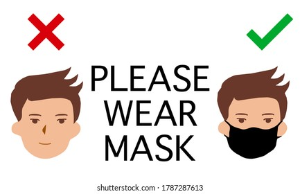 An announcement with PLEASE WEAR MASK and 2 persons icon. One is wearing protective mask, one isn't. Graphic design  for a banner or poster for hospital, office, school, restaurant or any public areas
