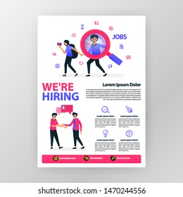 announcement poster open up vacancy. we're hiring with vector flat cartoon illustration. flayer business pamphlet brochure magazine cover design layout space for ad, promotion, marketing A4 size print