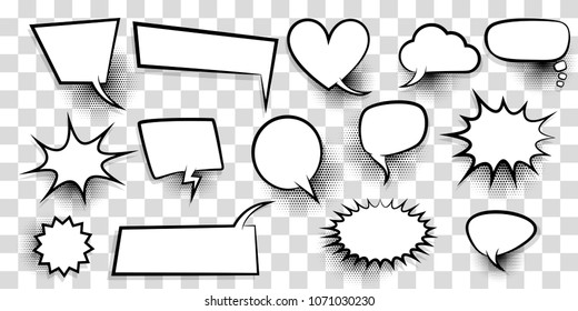 Announces sketch idea conversation sketch explosion. Comic text speech bubble halftone dot transparent background. Big set blank template pop art style. Comics book dialog empty cloud, cartoon box.