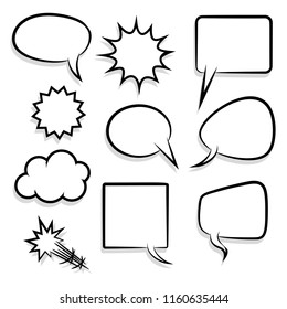 Announces sketch idea conversation sketch explosion. Comic text speech bubble halftone dot background. Big set picture blank template pop art style. Comics book dialog empty cloud, space cartoon box.