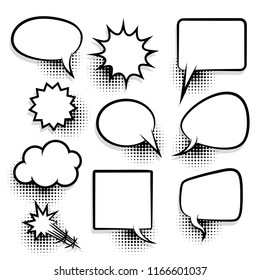 Announces sketch idea conversation sketch explosion. Comic text speech bubble halftone dot background. Big set picture blank template pop art style. Comics book dialog empty cloud, space cartoon box.