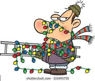 Annoyed cartoon man tangled up in a ladder and Christmas lights