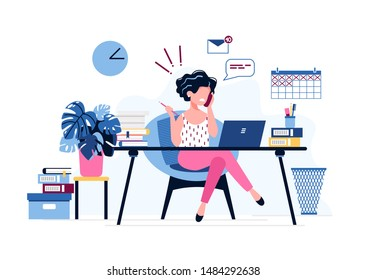 Annoyed female office worker. Exhausted businesswoman uses laptop, speaks on the phone sitting at the table. Burnout syndrome. Stress and depression at work. Vector illustration. Office work concept.