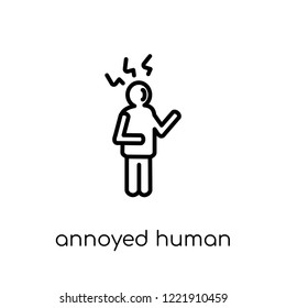annoyed human icon. Trendy modern flat linear vector annoyed human icon on white background from thin line Feelings collection, editable outline stroke vector illustration