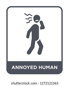 annoyed human icon vector on white background, annoyed human trendy filled icons from Feelings collection, annoyed human simple element illustration