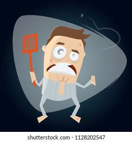 annoyed man hunting mosquito