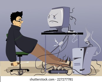 Annoyed man looking at an old-fashioned desktop computer broken and many time fixed
