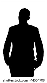 Annoyed Man Silhouette isolated on a white background. Raster version also available.