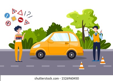 An annoyed woman who holds driving textbooks is trying to remember traffic signs. Driving school concept, driver's license, traffic rules. Vector flat illustration Natural landscape in the background.