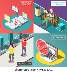 Annoying advertisement isometric design concept with ad media and program, promoters, protected mobile devices isolated vector illustration