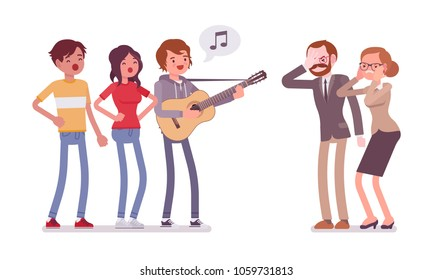Annoying music conflict. Group of young people with guitar and middle aged people in stress with loud noise, modern singing makes angry and irritate parents. Vector flat style cartoon illustration