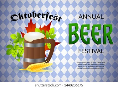 Annual beer festival banner design with foamed beer mug, barley and hops on blue and white checkered background. Lettering can be used for invitations, signs, announcements