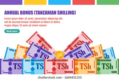 Annual Bonus Gift with Tanzanian Shilling Banknotes money vector template, good for landing page, infographic, web, social media post or other digital and print usage.
