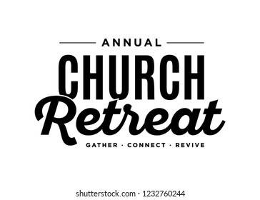 Annual Church Retreat Religious Gathering Event Vector Text Typography Illustration Background