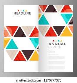 annual business report brochure triple layout stock vector royalty