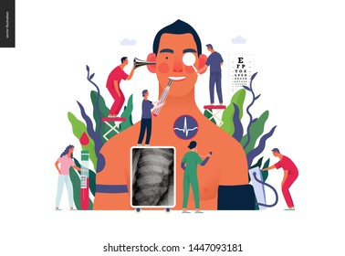 Annual health checkups -medical insurance illustration -modern flat vector concept digital illustration -doctors examing male patient checking hearing, vision, heart, lungs, blood pressure, blood test
