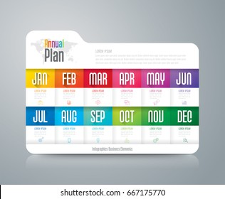 Annual plan January - December infographics design vector and marketing icons with 12 options, steps or processes.