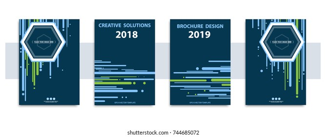 Annual report, 2018-2019 year.Futuristic fashion design covers Stripe figures, blue, green, vertical, horizontal.Collection, banners, posters, flyers.Material background design.Vector Eps10 template