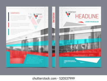 Annual report brochure design looks like books spine back and front sides with headline on top vector illustration